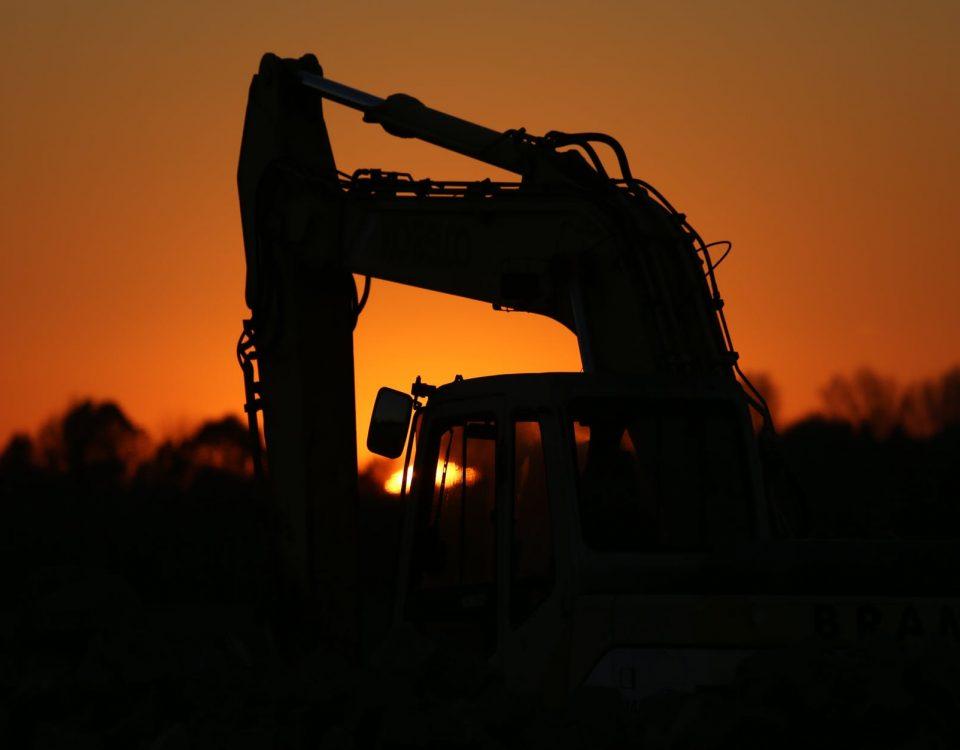 excavators construction machine evening sunset
